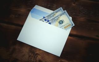 Money envelope (wooden table)