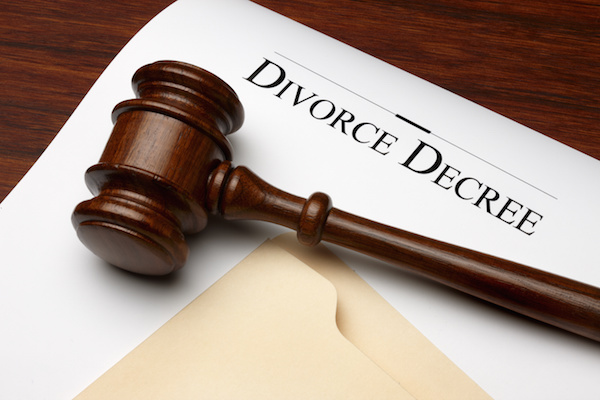 Divorce decree with gavel, tax attorney