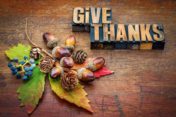 Give Thanks in typeset letters on wood background with autumn decorations, estate planning attorney advice